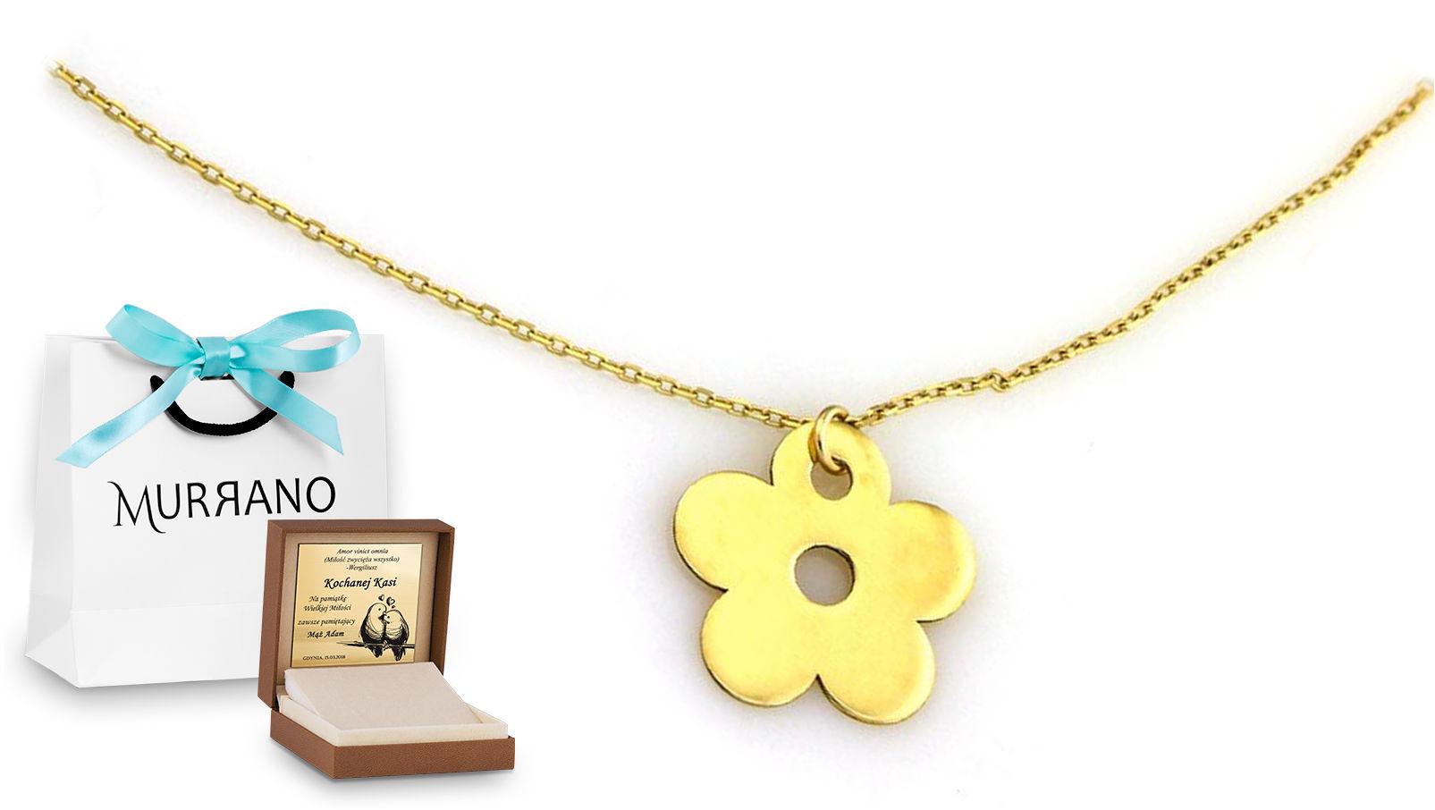 Złoty naszyjnik 333 celebrytka kwiatek prezent