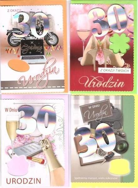 Karnet B6 z naklejką 30-ste urodziny (10szt) MIX
