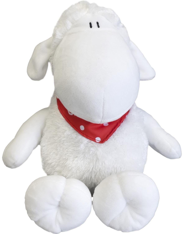 Pluszowa owieczka z chustką na szyję szczęście, wysokość 30 cm