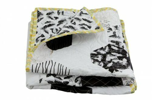 Patchwork/narzuta hexagons black & white
