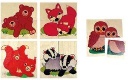 Hess drewniana zabawka 14925 - puzzle ze zwierzęcymi niemowlętami z drewna, 5 motywów, 20 części, kolorowe