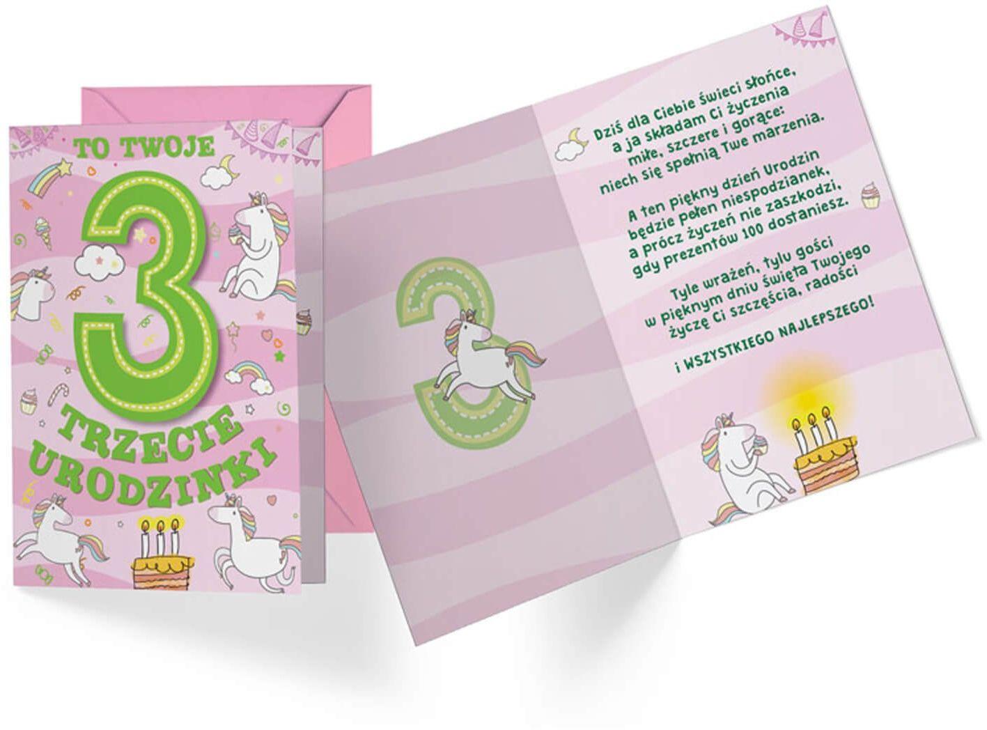 Kartka urodzinowa z kopertą na trzecie urodziny Jednorożec - 1 szt.