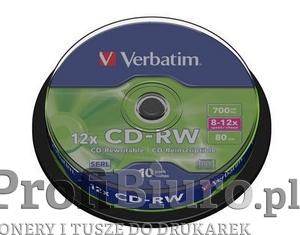 Płyty Verbatim CD-RW 700MB 12x - Spindle Box - 10szt.