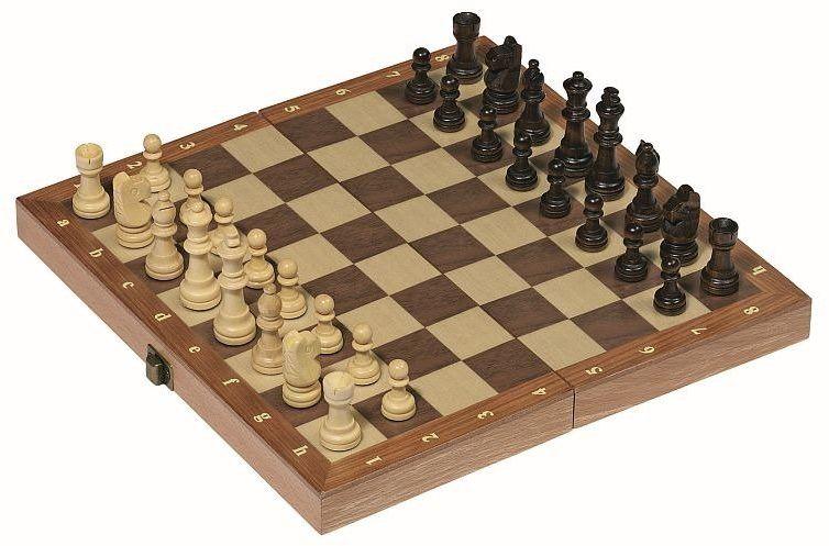 Szachy w drewnianej skrzynce na zawiasach 56921-Goki, gry planszowe dla dzieci