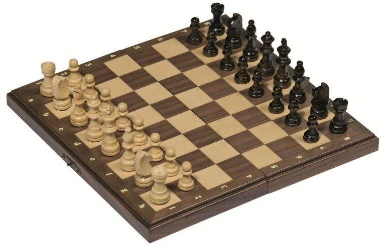 Magnetyczne szachy w drewnianym etui 56920-Goki, gry planszowe