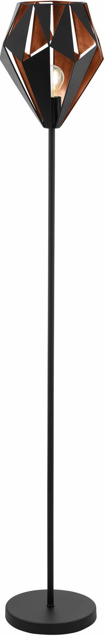 EGLO lampa podłogowa Carlton 1, 1-płomienna lampa stojąca vintage, stalowa lampa podłogowa retro, kolor: czarny i miedziany, oprawka: E27
