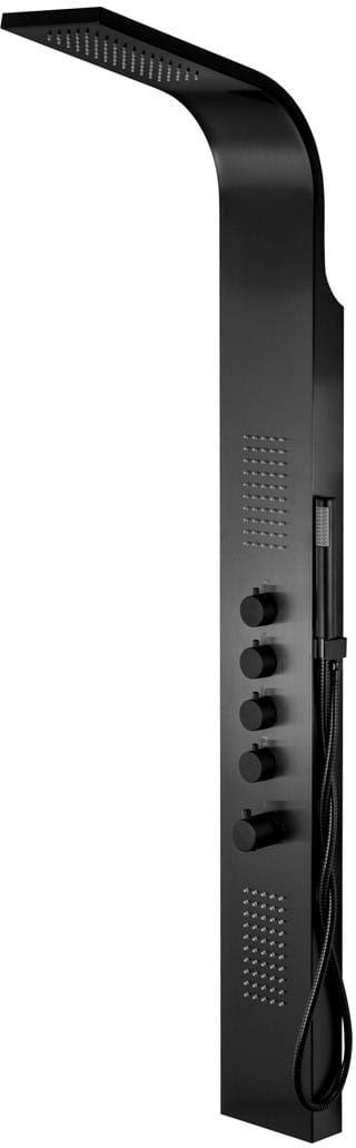 Corsan Samsara panel prysznicowy z termostatem czarny, czarne pokrętła S-003TSAMSARACZARNA