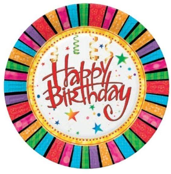 Talerzyki papierowe Happy Birthday 23cm 8 sztuk TM02OG029901