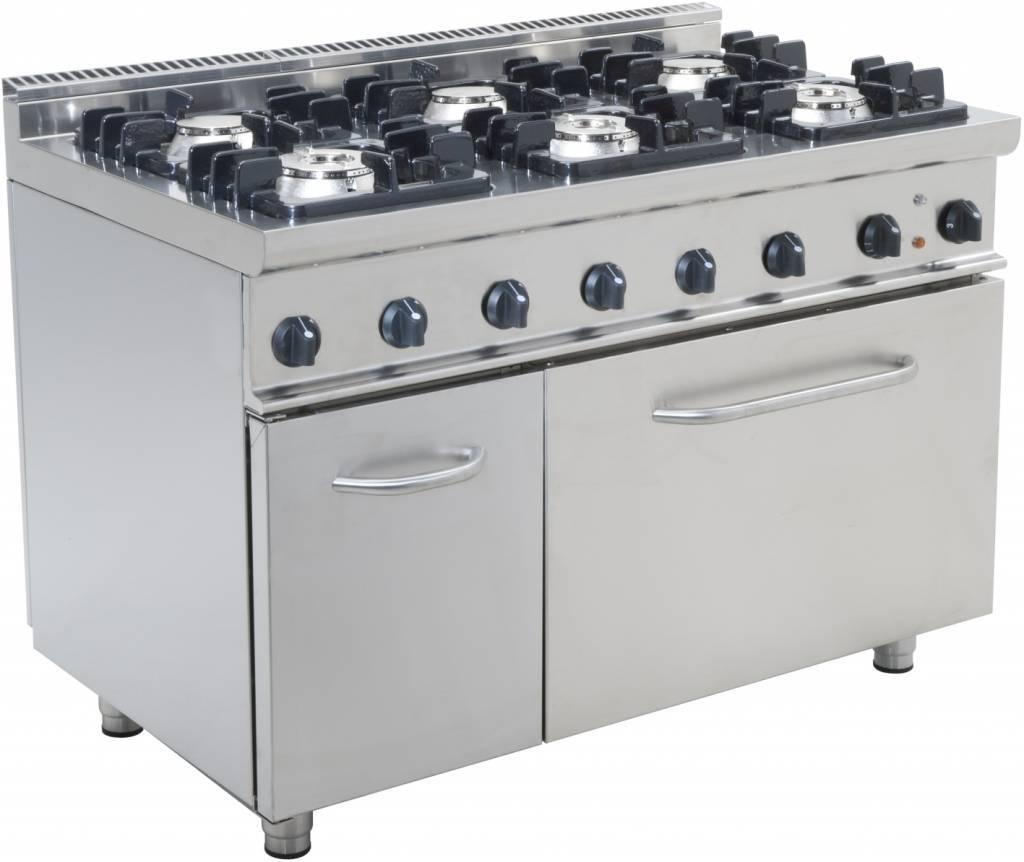 Kuchnia gazowa 6 palnikowa z piekarnikiem gaz. 120 L (GN 2/1) 43900W