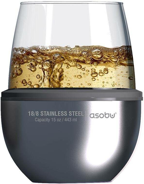Pojemnik izolowany ze szklanką Asobu Insulated Wine Kuzie - silver