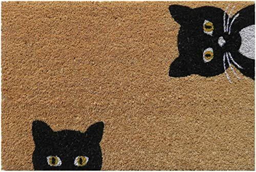 Entryways Peeping Cats antypoślizgowa wycieraczka z futrem, czarny/biały, 40 cm x 60 cm x 15 mm
