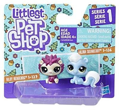 Littlest Pet Shop - Dwupak zwierzaków mini jeżyk Hildy Hedgehog i skunks Alina Skunkerby C1676