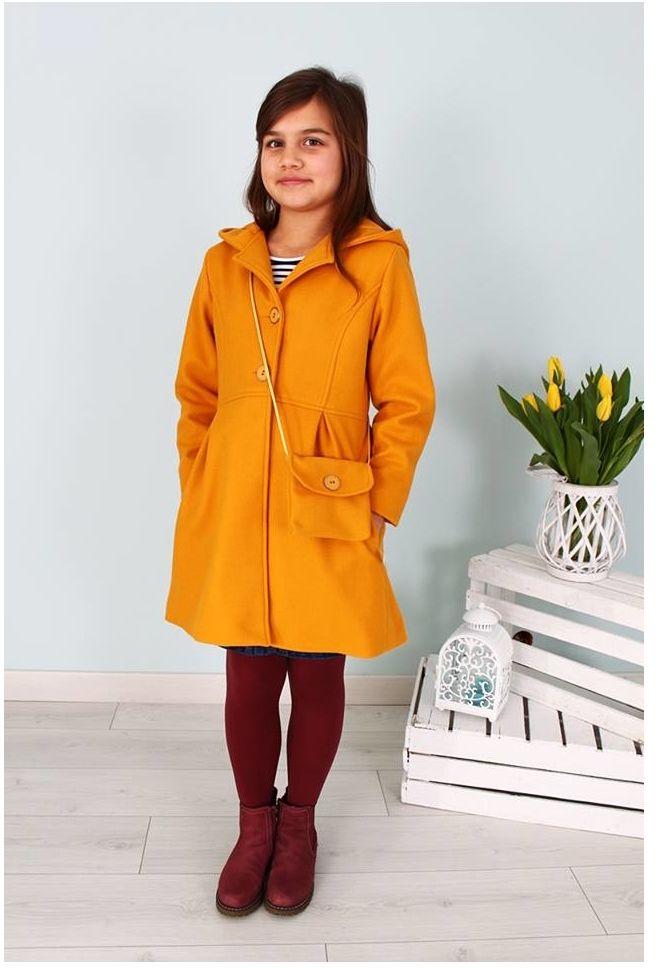 Płaszcz dla dziewczynki z torebką 122-152 Basia miodowy