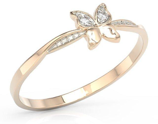 Pierścionek motylek z różowego złota z cyrkoniami bp-88p-r-c