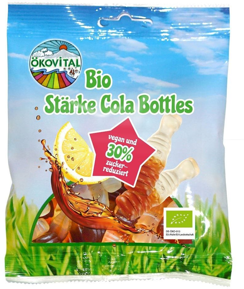 Żelki cola bez żelatyny bezglutenowe bio 80 g  okovital