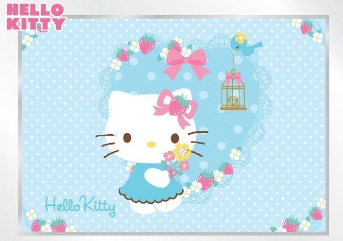 Fototapeta na flizelinie hello kitty niebieskie serduszko xl