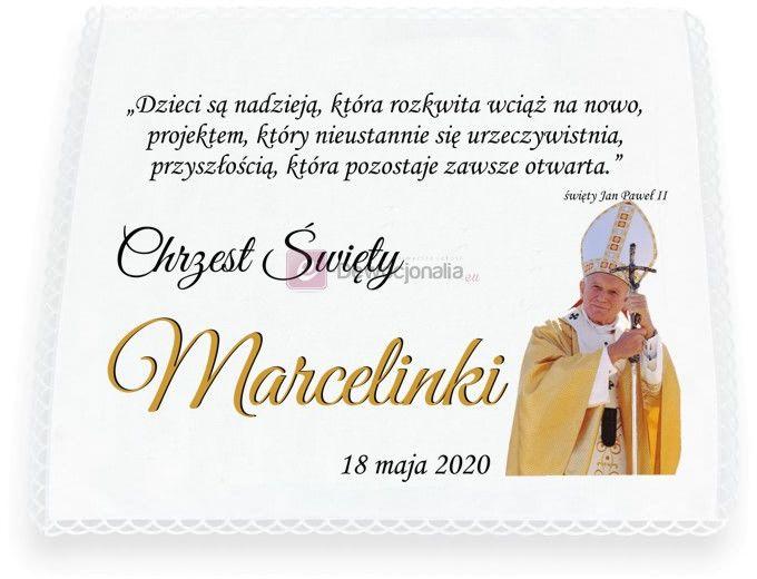 KRZYŻMO szatka do Chrztu Św. - JUBILEUSZ - rok 2020 rokiem św. Jana Pawła II