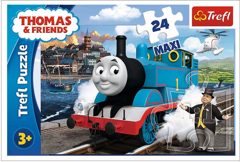 Trefl Wesoły Dzień Tomka Puzzle 24 Maxi Tomek i Przyjaciele o Wysokiej Jakości Nadruku dla Dzieci od 3 lat