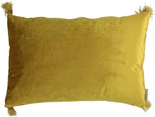 Ozdobna poduszka z wypełnieniem - aksamit - żółty - 40x60cm