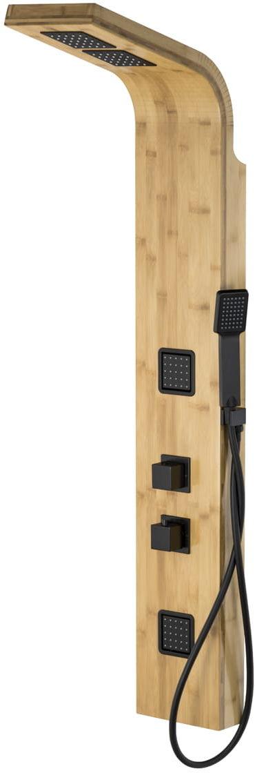 Corsan bambusowy panel prysznicowy z termostatem Bao czarny B-022T