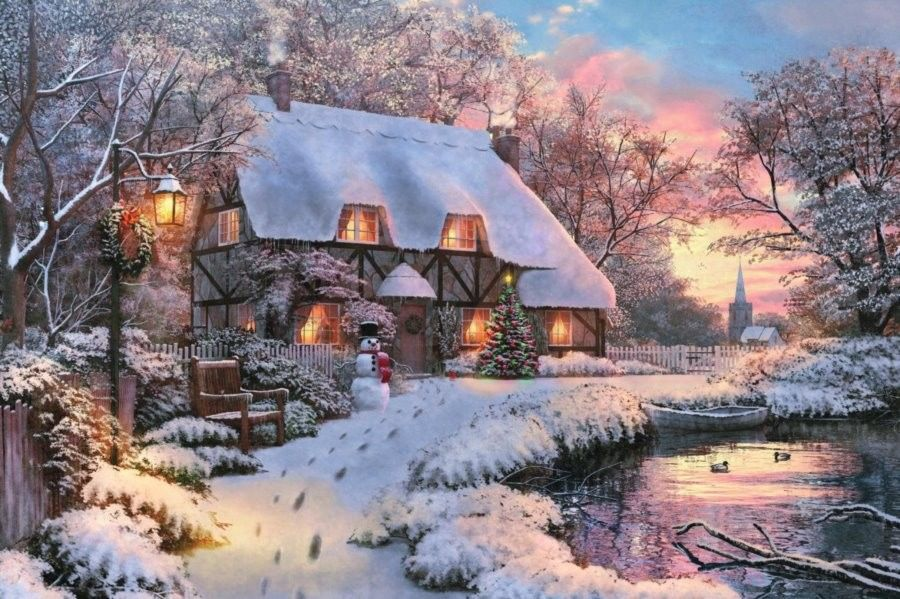 Puzzle Castor 500 - Zimowa chata, Winter Cottage
