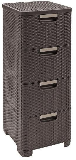 Regał z szufladami RATTAN STYLE 4x14L brązowy