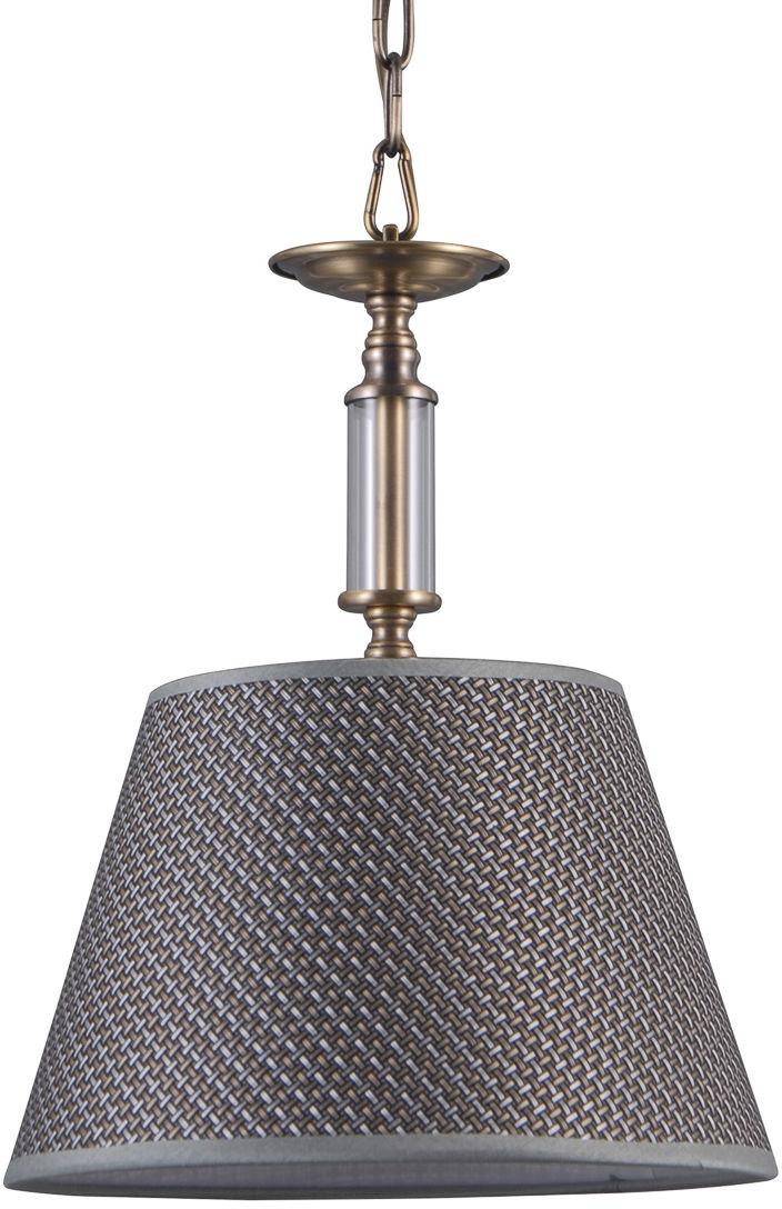 Italux Zanobi PND-43272-1 lampa wisząca stal szkło tkanina brąz antyczny klosz szary E14 1x40W IP20 27cm