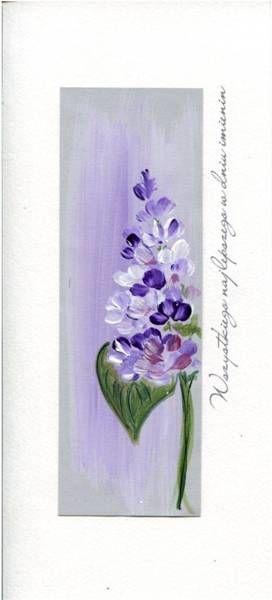 Karnet Imieniny I 04 - Fioletowy kwiat MAK