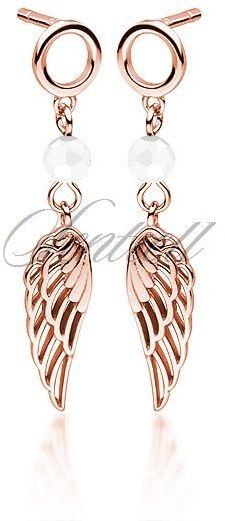 Srebrne pr.925 pozłacane różowym złotem kolczyki skrzydła z białą cyrkonią / spinelem - różowe złoto biały