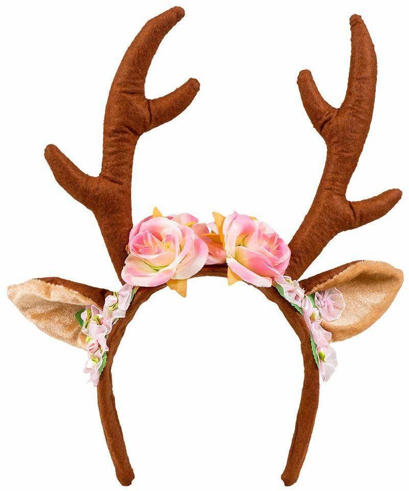 Boland 04276 Opaska na Włosy Renifer z Uszami i Kwiatami, dla Dorosłych, Brązowo / Różowa, Jeden Rozmiar
