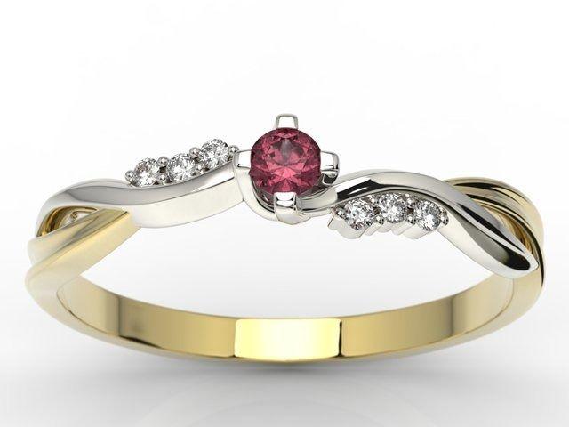 Pierścionek zaręczynowy z żółtego i białego złota z rubinem i diamentami 0,03 ct wzór ap-7009zb