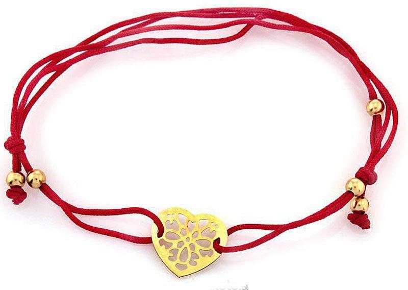 Złota bransoletka 585 ażurowe serce na czerwonym sznurku