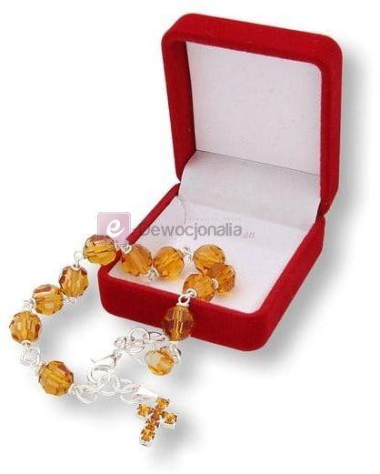 Różaniec kryształkowy TOPAZ Preciosa 10tka na rękę