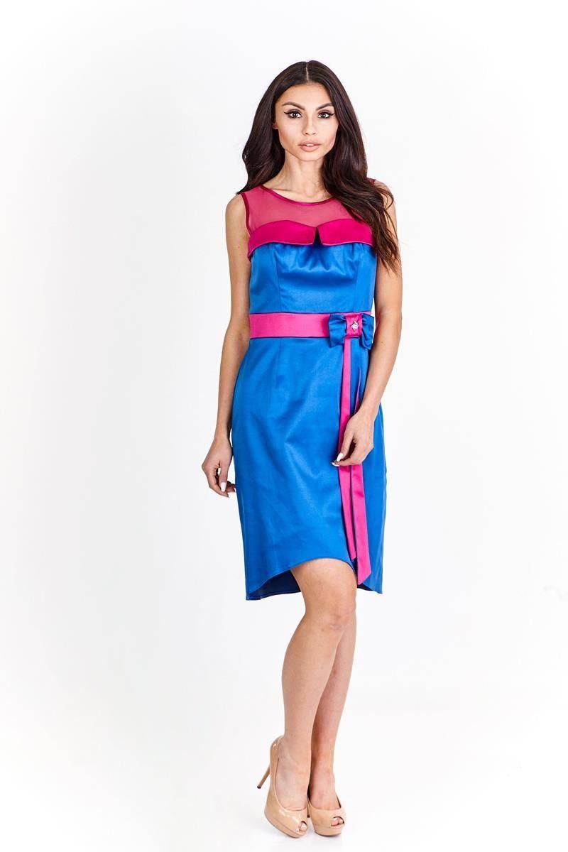 Sukienka FSU224 CHABROWY AMARANT ŚREDNI