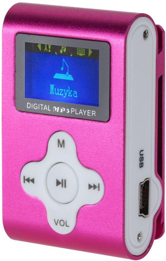 KOM0744 Odtwarzacz MP3 / dyktafon / radio FM Quer z LCD (różowy)