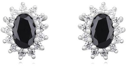 Eleganckie rodowane srebrne kolczyki markizy czarne białe cyrkonie srebro 925 Z1102E_B