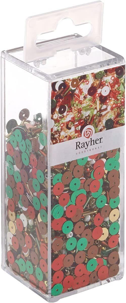 Rayher 53813000 mieszanka cekinów/szklanych koralików, 90 g i 50 m drutu, średnica 0,3 mm, koraliki do majsterkowania, Rocailles, cekiny, flamastry szklane, drut nawlekany