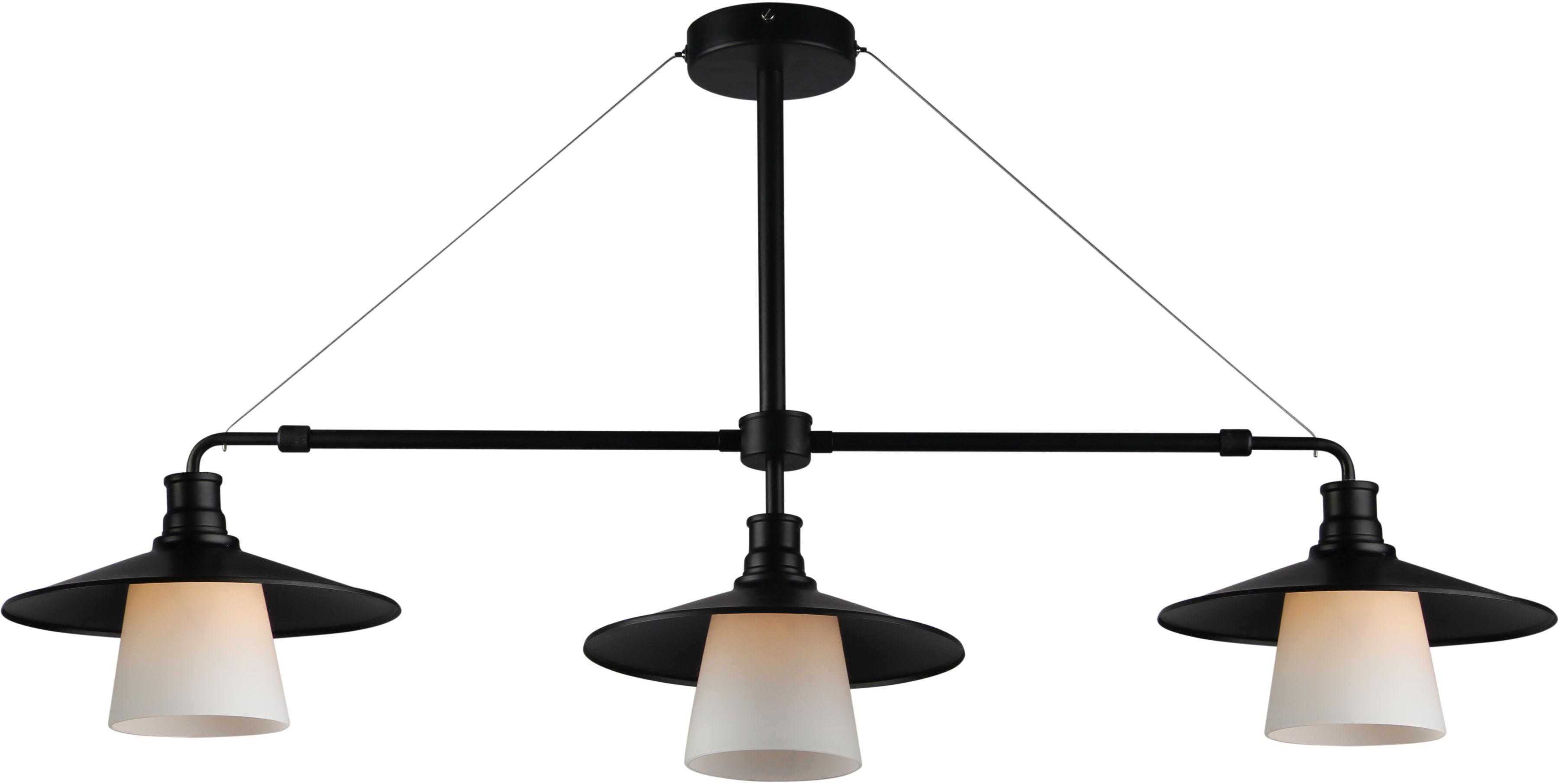 Candellux LOFT 33-43115 lampa wisząca loftowa 3X60W E27 czarna z białym kloszem 98cm