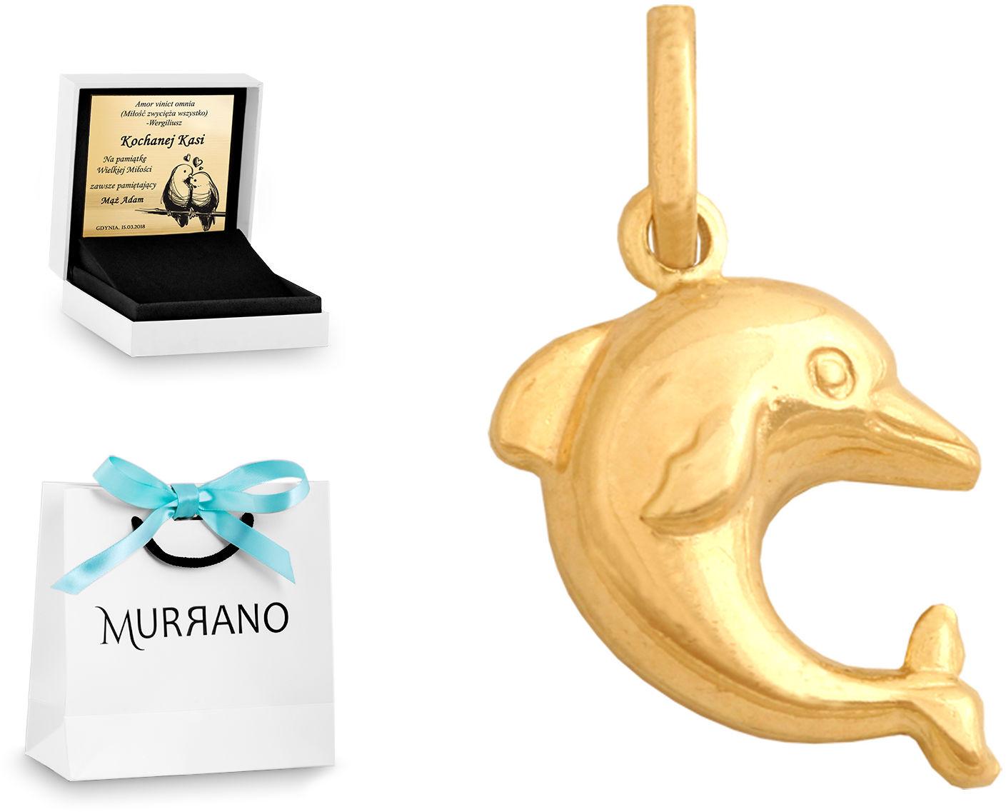 Złota zawieszka 585 fantazyjna delfin prezent