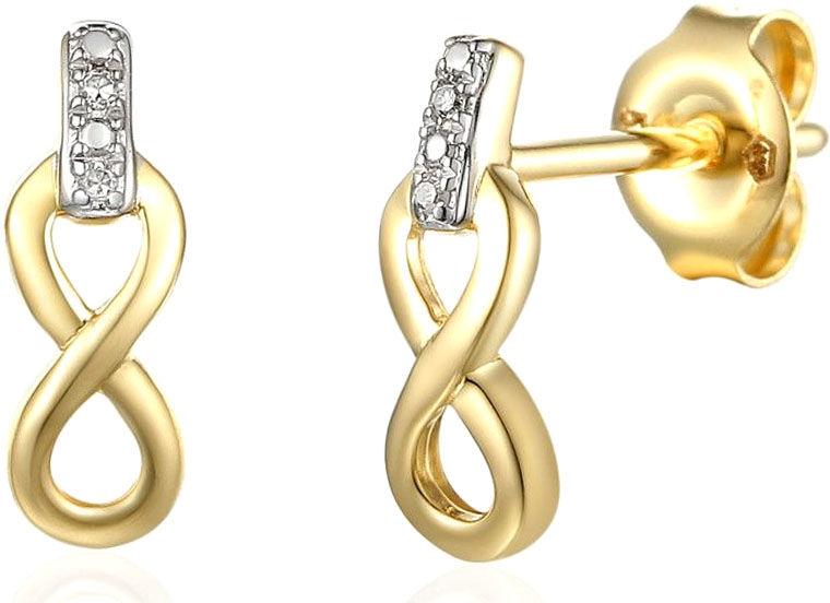 Złote kolczyki 585 nieskończoności z diamentami brylanty