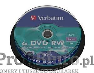 Płyty Verbatim DVD-RW 4.7GB 4x - Spindle - 10szt.
