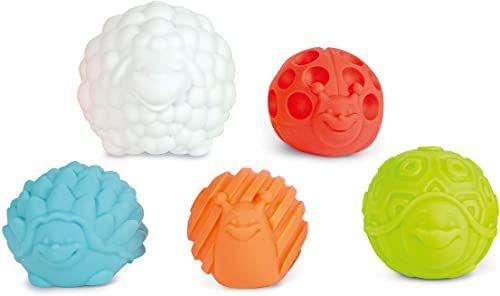 Clementoni 17454 kulki sensoryczne zwierząt, miękkie piłki zmysłowe  różne tekstury, kształty i kolory  zabawka dla noworodków, dzieci od 3 miesiąca życia, wielokolorowa