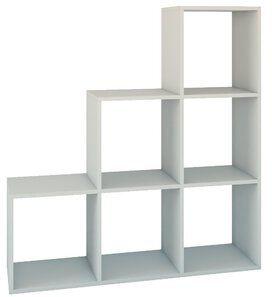 """Regał schodkowy komorowy poziomowy """"Kabo"""" 115 cm - biały"""