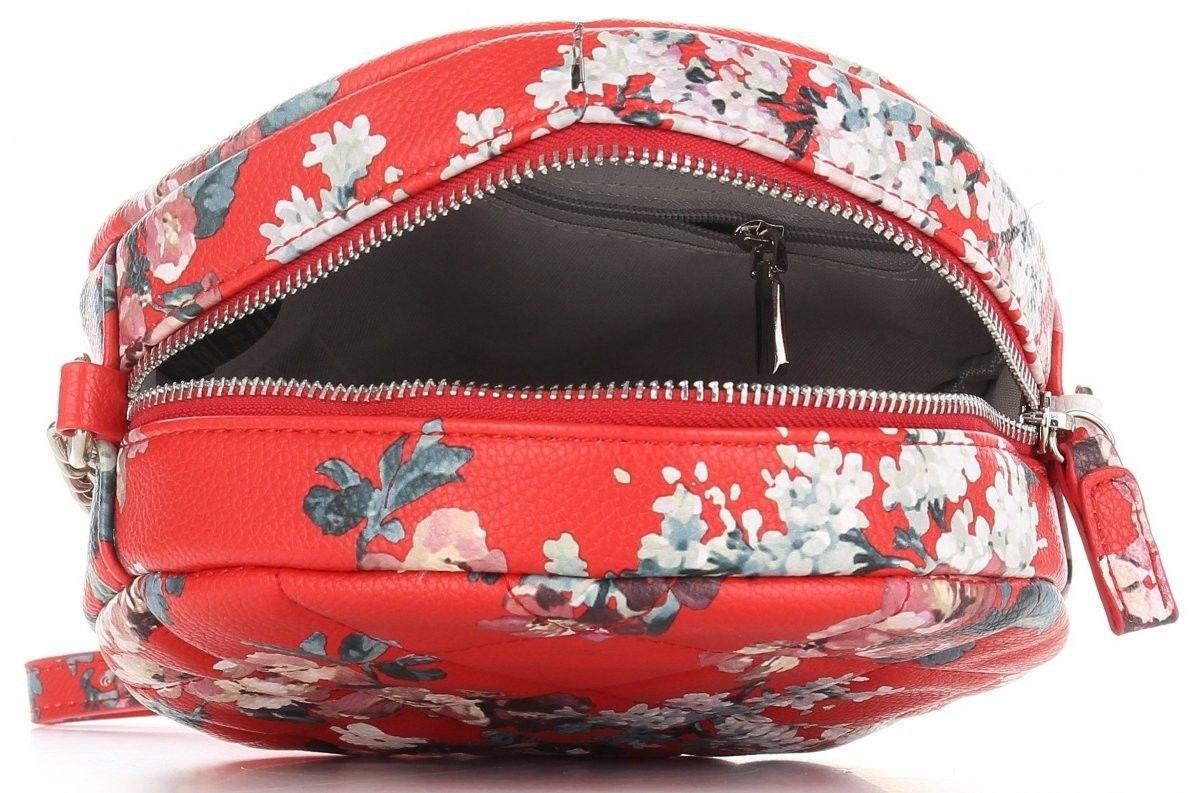 Okrągłe Torebki Damskie Listonoszki wzór w kwiaty renomowanej marki Diana&Co Multikolor Czerwone (kolory)