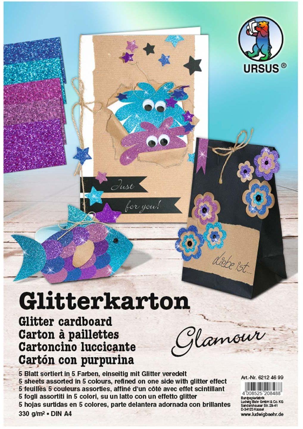 Ursus 62124699F brokatowy karton Glamour, DIN A4, 330 g/m , 5 arkuszy, sortowane w 5 kolorach, wielokolorowe
