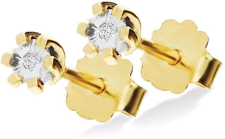 Złote kolczyki 585 delikatne diamenty brylanty