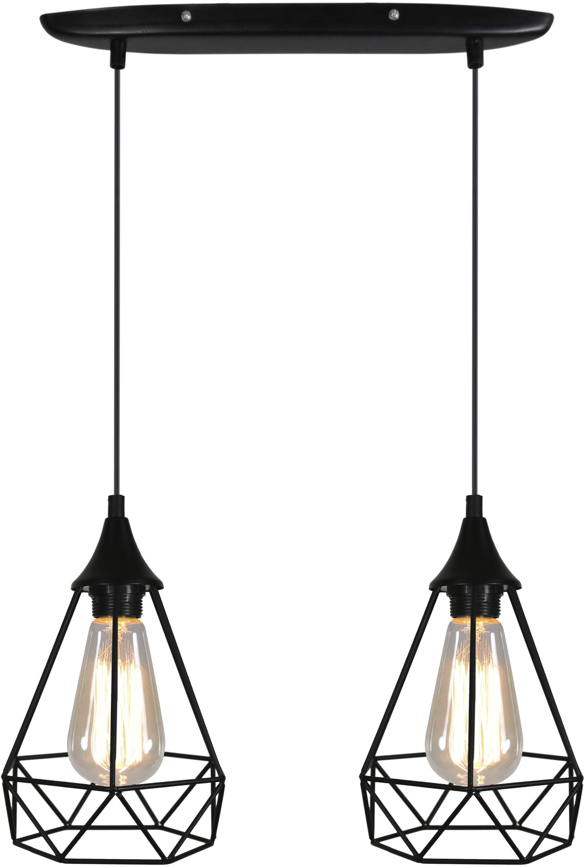 Candellux GRAF 32-62895 lampa wisząca czarna druciana 2X60W E27 49cm