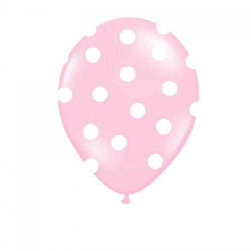 Balony Różowe w białe grochy, 6 szt.