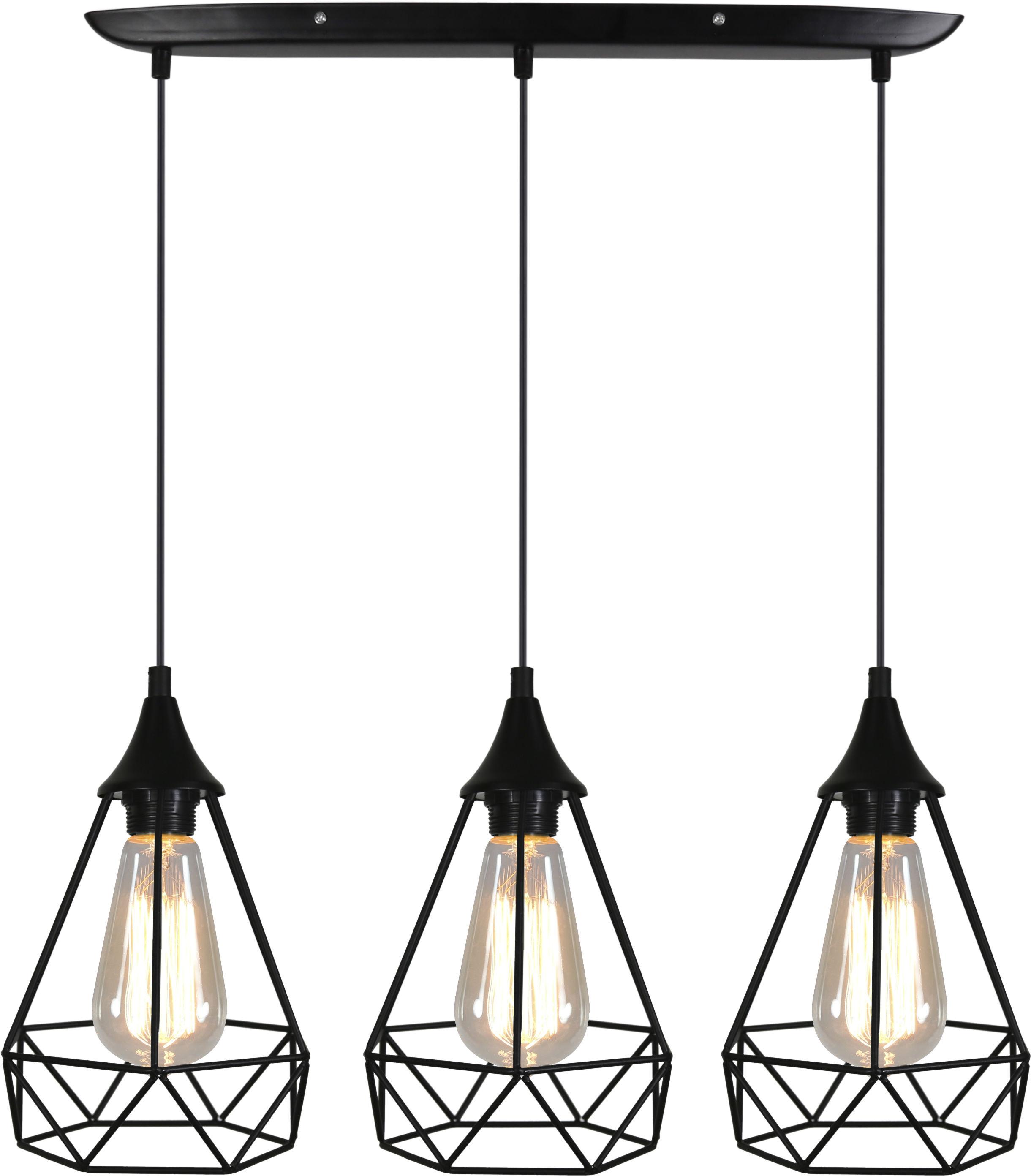 Candellux GRAF 33-62901 lampa wisząca druciana potrójna na listwie czarna 3X60W E27 65cm