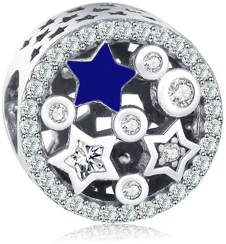 Rodowany srebrny charms do pandora gwieździste niebo gwiazdy stars cyrkonie srebro 925 QS0106